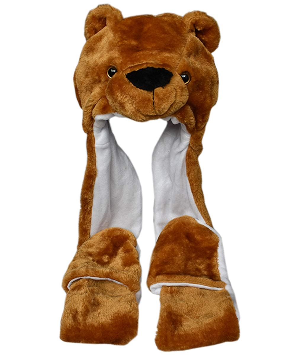 TopTie Soft Fleece Lined Long Animal Hat Brown Bear Warm Winter Scarf And Mittens