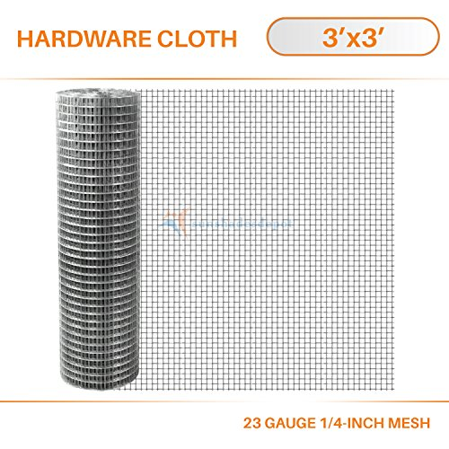Sunshades Depot 3-Feet-by-3-Feet 1/4-Inch Mesh Hardware Cloth - 23-Gauge Welded Wire Mesh Galvanized Netting Gutter Gard Garden Poultry Chicken Run Coops Rabbit Fencing by Sunshades Depot