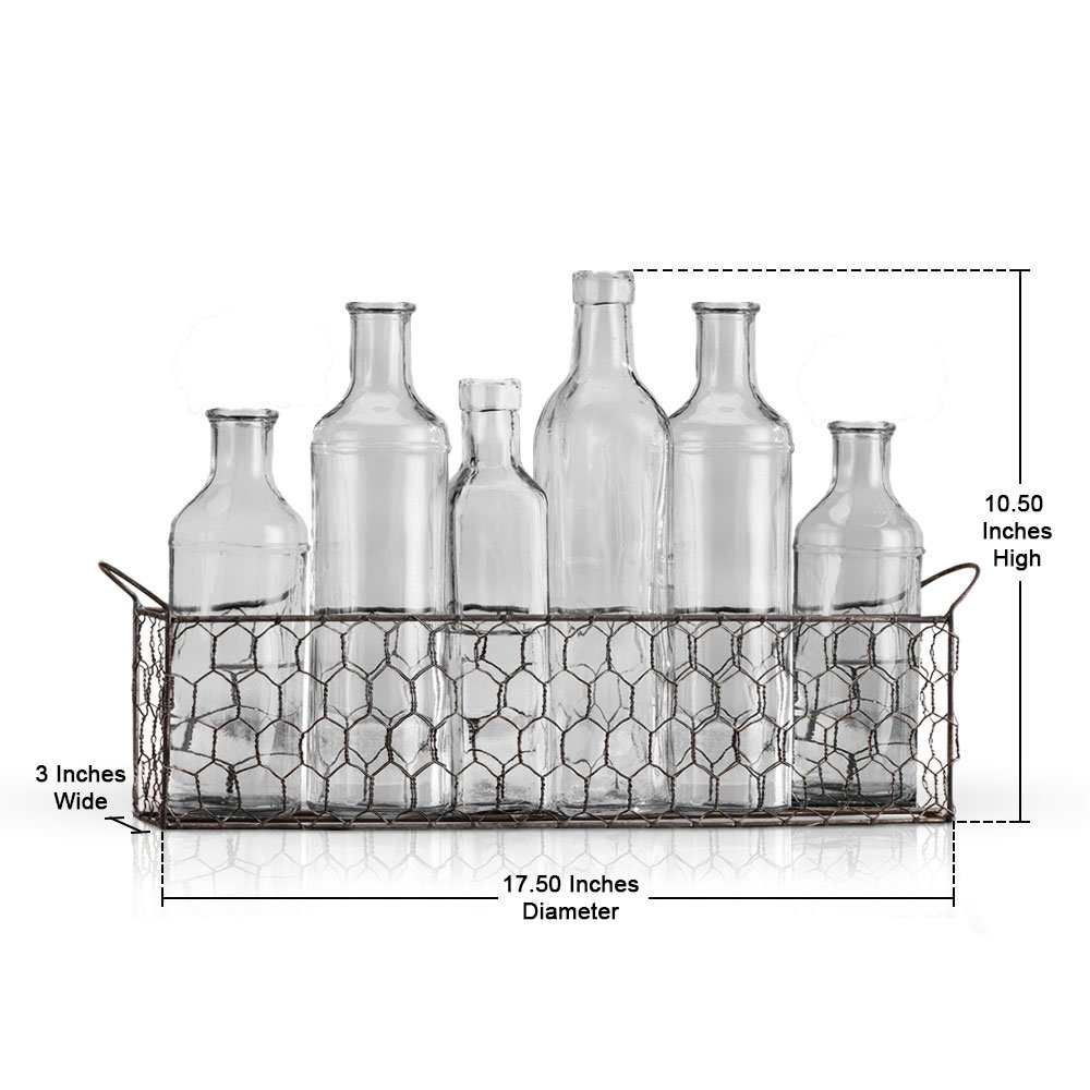 Amazon.com: Bud Flower Vases In Chicken Wire Basket for Window-Sill ...