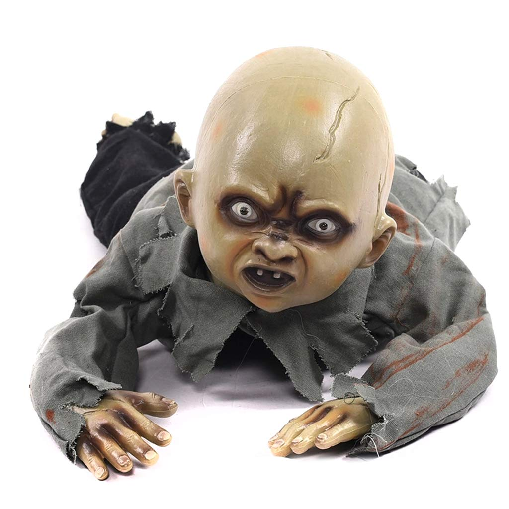 Stebcece Animated Crawling Baby Zombie Scary Ghost Babies Doll Haunted Halloween Decor Props Supplies