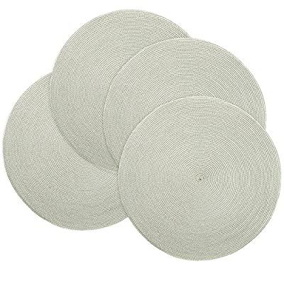 Doupoo Round Place Mats for Kitchen Table,Vinyl Woven Placemats Heat Resistant Table mats (4, Grey Set of 4) - Material of the place mats washable:The braided placemats are made of 100% woven polypropylene,handmade and environmental friendly Size of the vinyl place mats:about 14-inch in diameter,large enough to handle a dinner plate and perfect for indoor and outdoor use The dinner place mats will protects your table from scratches and stains,perfect for everyday use - placemats, kitchen-dining-room-table-linens, kitchen-dining-room - 61WZt57n5RL. SS400  -
