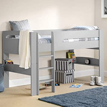premium selection 245df 34ffb Happy Beds Pluto Wood Mid Sleeper Bed 3ft Single Grey/White ...