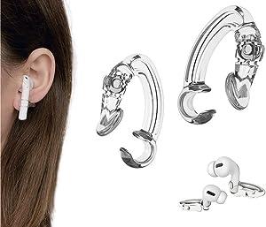KKPOT 2 Pair Earpods Anti-Lost Ear Hook - Anti-Drop Sports Ear Clip,Wireless Earphones Grip Accessories Tips Compatible with Apple Airpods 1/2/Pro Or Earpods Headphones/Earphones/Earbuds (Transparent)