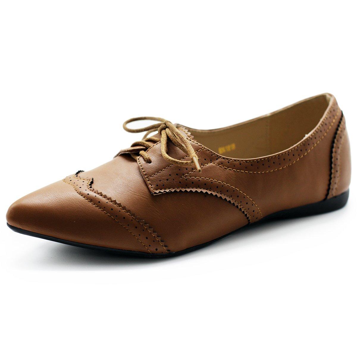 Ollio Women's Ballet Shoe Flat Enamel Pointed Toe Oxford M1818 (7.5 B(M) US, Brown)