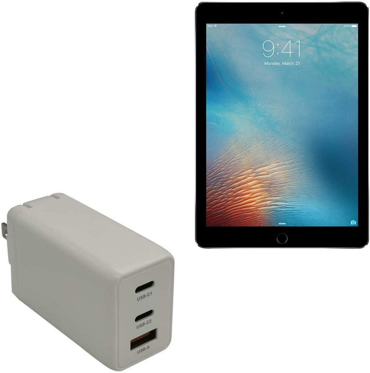Charger for iPad Pro 9.7 (2016) (Charger by BoxWave) - PD GaNCharge Wall Charger (65W), 65W Tiny PD GAN Type-C and Type-A Wall Charger for iPad Pro 9.7 (2016), Apple iPad Pro 9.7 (2016) - Winter White