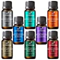 Art Naturals Top 8 Essential Oils Set 10ml each - Lavender, Tea tree, Peppermint, Frankincense, Eucalyptus, Sweet Orange, Rosemary & Lemongrass - 100% Pure Therapeutic Grade - 2016 Edition Kit