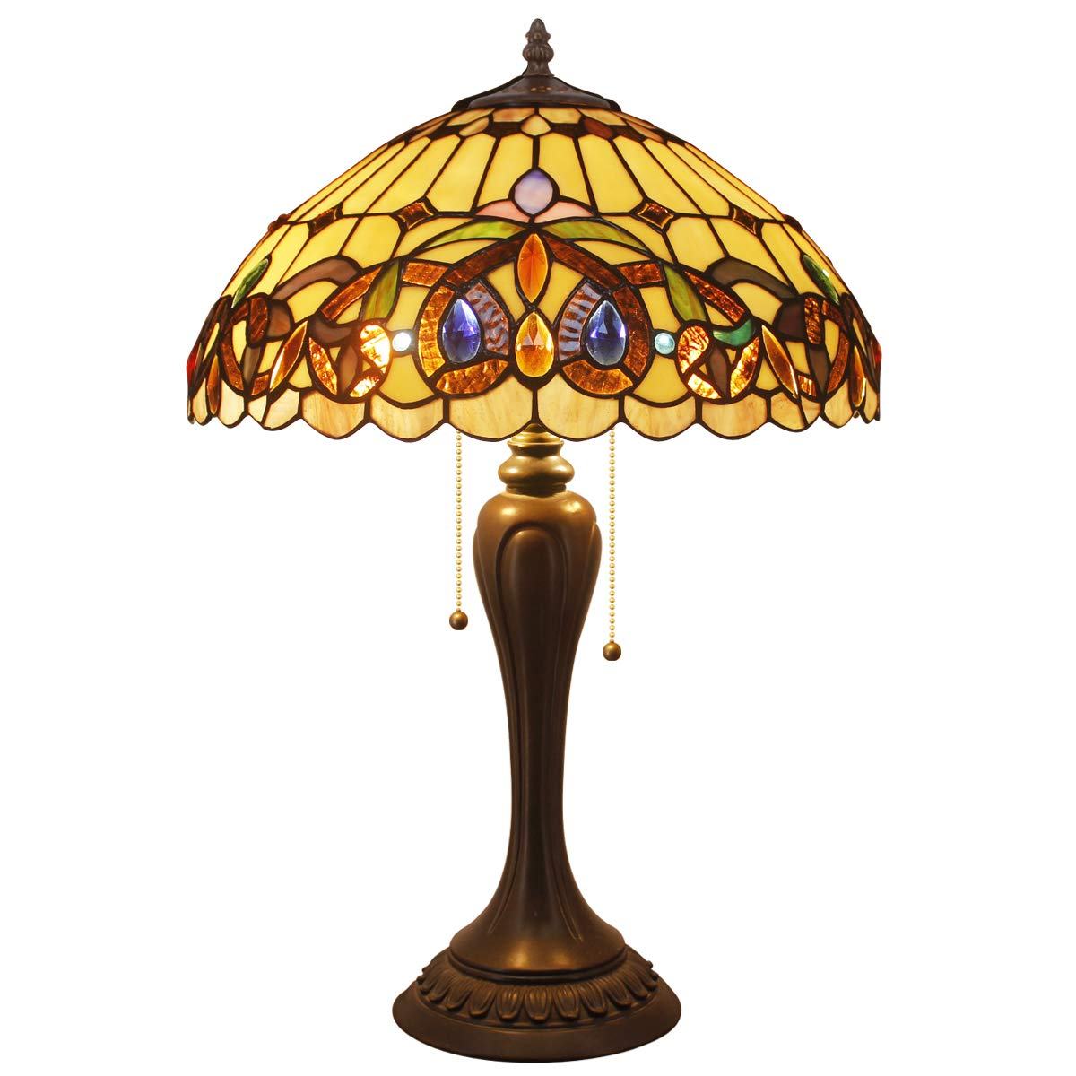 Tiffany Style Table Desk Beside Lamp 24 Inch Tall Stained Glass Serenity Victorian Lamps Shade 2 Light Antique Base for Living Room Bedroom Set W16 inch S021 WERFACTORY
