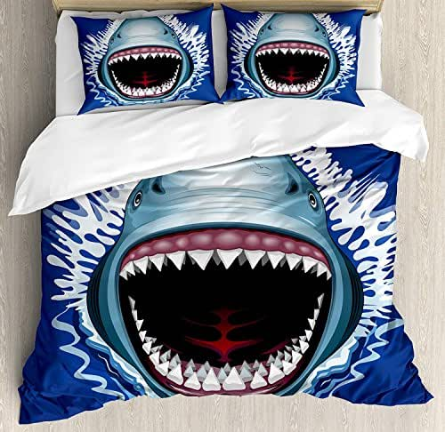 Shark Full Size Duvet Cover Set - Attack of Open Mouth Sharp Teeth Sea Danger Wildlife Ocean Life Cartoon Bedding Sets Decorative Pillowcases for Childrens/Kids/Teens/Adults, 3 Piece
