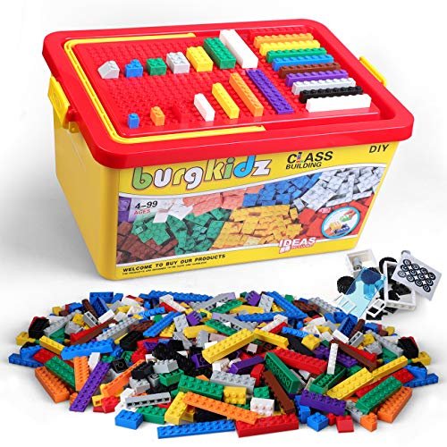 Building Bricks 1020 Pieces, 1000 Basic Building Block in 10 Classic Colors, 17 Fun Shapes include Wheels, Door, Window, Storage Box with Bulk Block and Base Plate, Compatible Construction Toy