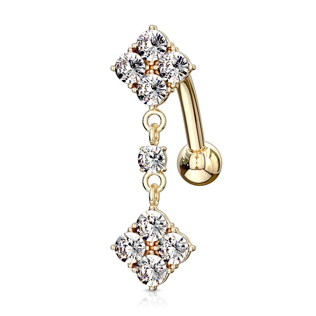 Jewelry Pilot 14K Yellow Gold Diamond Dangle Multi CZ Navel Ring