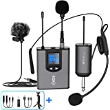 """UHF Wireless Microphone System Headset Mic/Stand Mic/Lavalier Lapel Mic with Rechargeable Bodypack Transmitter & Receiver 1/4"""" Output for iPhone, PA Speaker, DSLR Camera, Recording, Teaching"""