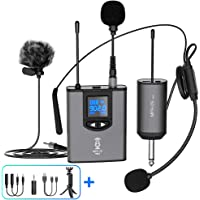 "UHF Wireless Microphone System Headset Mic/Stand Mic/Lavalier Lapel Mic with Rechargeable Bodypack Transmitter & Receiver 1/4"" Output for iPhone, PA Speaker, DSLR Camera, Recording, Teaching"