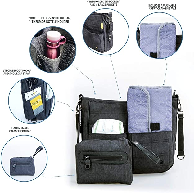 Diapers Pushchair Organizer Portable Pram Organiser Keys Wallet Travel Parent Console Stores Bottles Multi Function Organizer Bag for Mamas and Papas sola Cell Phone Stroller Bag Insulated Cup Holders
