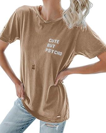 2071475ba Beautife Womens Letter Print Distressed Tee Short Sleeve Crew Neck Casual  Cotton Plain T Shirt Top