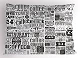 Ambesonne Vintage Pillow Sham, Retro Style Texts and Typographic Icons Vintage Coffee Shop Restaurant, Decorative Standard Queen Size Printed Pillowcase, 30 X 20 inches, Charcoal Grey Pale Grey