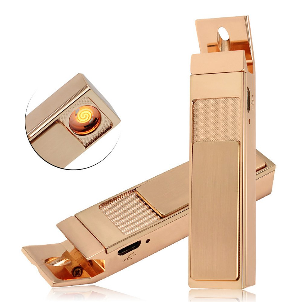 USB Rechargeable Electronic Coil lighter,Oiikury Flameless Cigarette Lighter With Bottle opener(Rose gold)