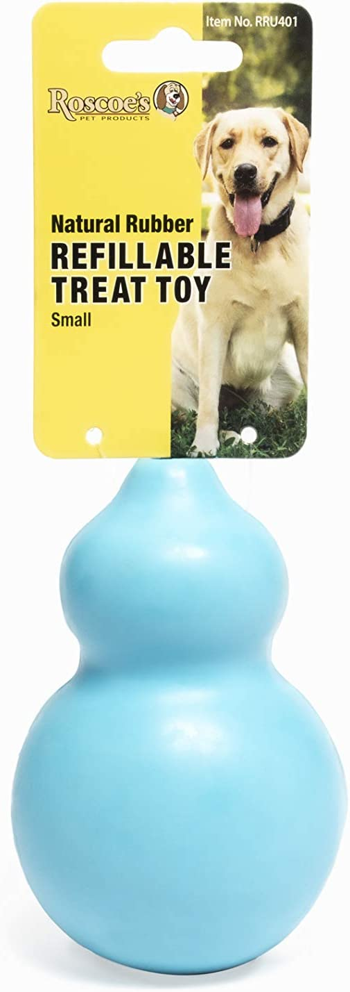 Roscoe's Pet Products Natural Rubber Refillable Treat Toy for Dogs. Multiple Sized Available. Safe and Non-Toxic (Small) : Pet Supplies