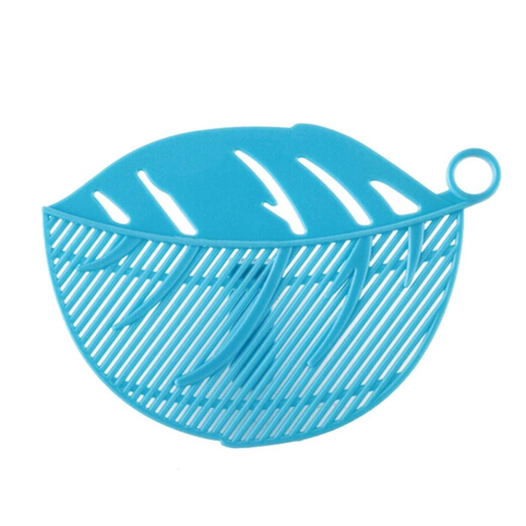 Iuhan 1PC Durable Clean Leaf Shape Rice Wash Sieve Cleaning Gadget Kitchen Clips Tools (Blue)
