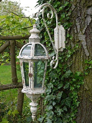 HÄNGE-Laterne Metall Shabby chic VINTAGE Silber Windlicht Landhaus Wand-laterne