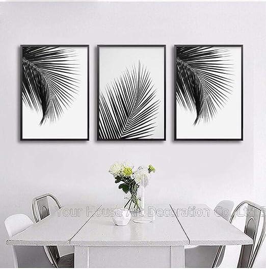 Shinering Noir Blanc Palmier Feuilles Affiche Décor Pour Le