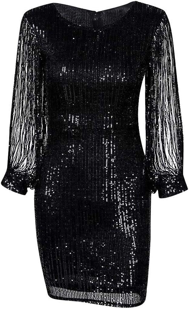 VICGREY Vestito Donna Elegante Donna Vestito con Paillettes Abito Scollo V Donna Vestito da Estate Manica Lunga