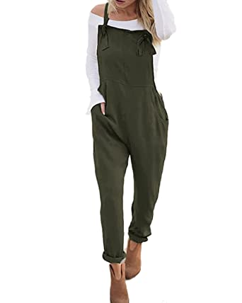 d5530056562b ACHIOOWA Women s Sleeveless Overall Strappy Pocket Jumpsuit Baggy Romper  Bib Loose Trousers Army Green S