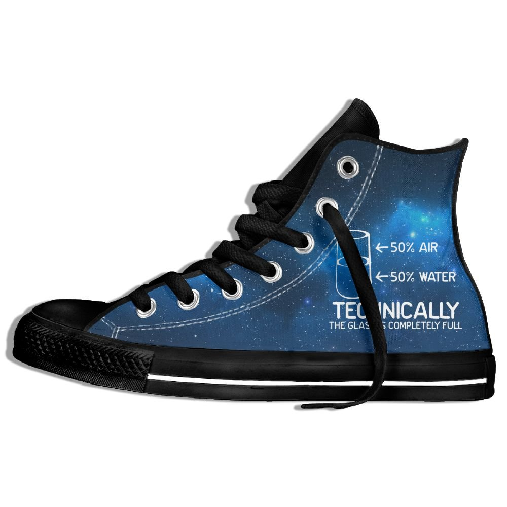 Technically The Glass Is Completely High Top Classic Casual Canvas Fashion Shoes Sneakers For Women & Men