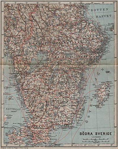 Amazon Com Southern Sweden Sodra Sverige Karta Baedeker 1909