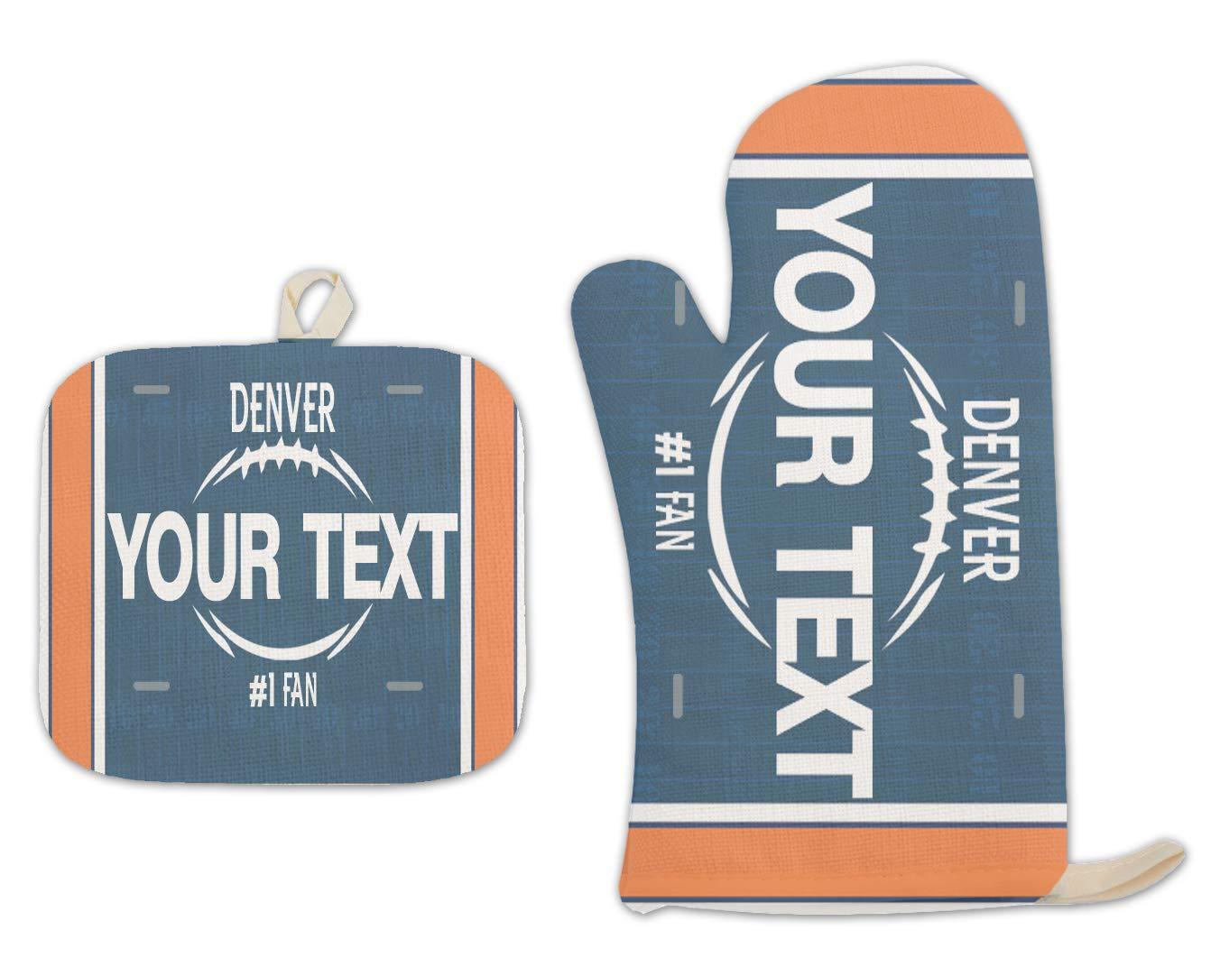 Bleu Reign BRGiftShop Personalized Custom Name Football Team Denver Linen Oven Mitt and Potholder Set