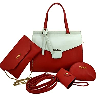 b5547c41cf ZARA Women's Leather Tote Handbag (Reite White & Red) - Set of 4:  Amazon.in: Shoes & Handbags