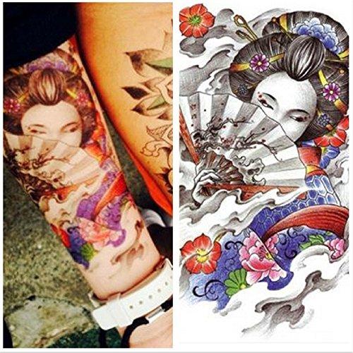 LZC 2Pcs 15x21cm Temporary tattoo Shoulder Arm Stickers waterproof Fashion Party Body Art Man Woman Multi Colored Black - Japanese Geisha Girl ()