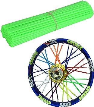 72 Stück 24cm Spoke Tubes Spoke Skin Speichen überzug Räder Felgen Speichen Abdeckung Universal Für Motorrad Dirt Bike Grün Auto