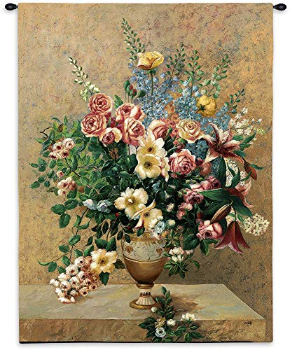 (Morning Blossoms by Welby | Woven Tapestry Wall Art Hanging | Bouquet of Flowers Still Life Vase Urn Centerpiece | 100% Cotton USA 53X40)