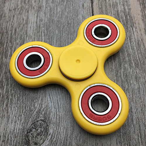 Guarantee 2 Mins+ Spin Time Quiet and Smooth Fidget Spinner Toy Stress Reducer Good for ADHD EDC Hand Killing Time (YELLOW)