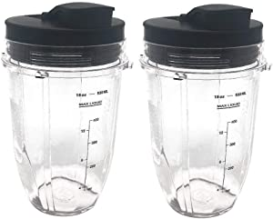 Replacement Nutri Ninja 18 oz Cup with Sip & Seal Lid - For Blender BL450 BL454 Auto-iQ BL480 BL481 BL482 BL687 2-Pack