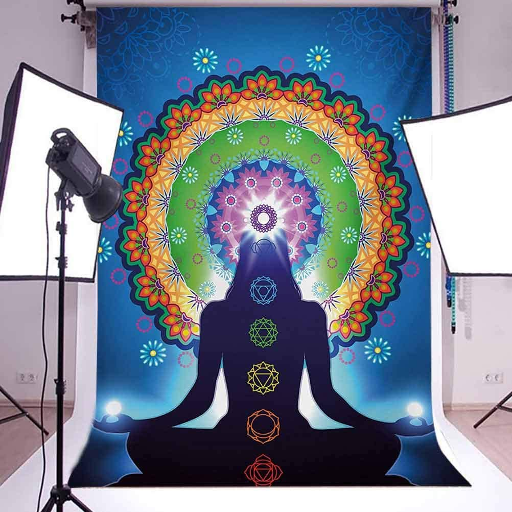 Chakra 10x12 FT Backdrop Photographers,Silhouette of Woman Doing with Vertical Blending Effects and Mesh Peace Motif Background for Photography Kids Adult Photo Booth Video Shoot Vinyl Studio Props