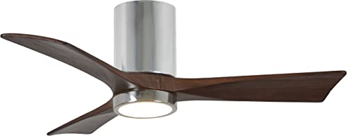 Matthews IR3HLK-CR-WA-42 Irene 42 Outdoor Hugger Ceiling Fan with LED Light and Remote Wall Control, 3 Wood Blades, Polished Chrome
