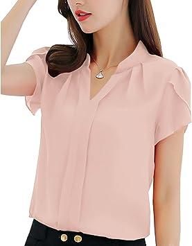 Camiseta Casual para Mujer Blusa Tops con Cuello En V Sólido Ajustado Camisas De Gasa Manga Corta: Amazon.es: Deportes y aire libre
