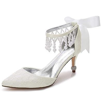 bd29612bbdff Elobaby Frauen Hochzeit Schuhe Elegante Strasssteine 36-42 High Heels Abend  Weiß Pumps geschlossen