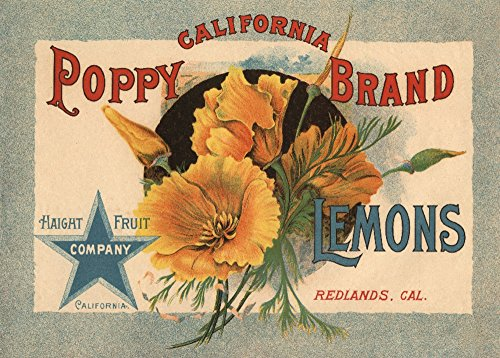 Redlands, California - California Poppy Brand - Vintage Label (24x36 Giclee Gallery Print, Wall Decor Travel Poster)