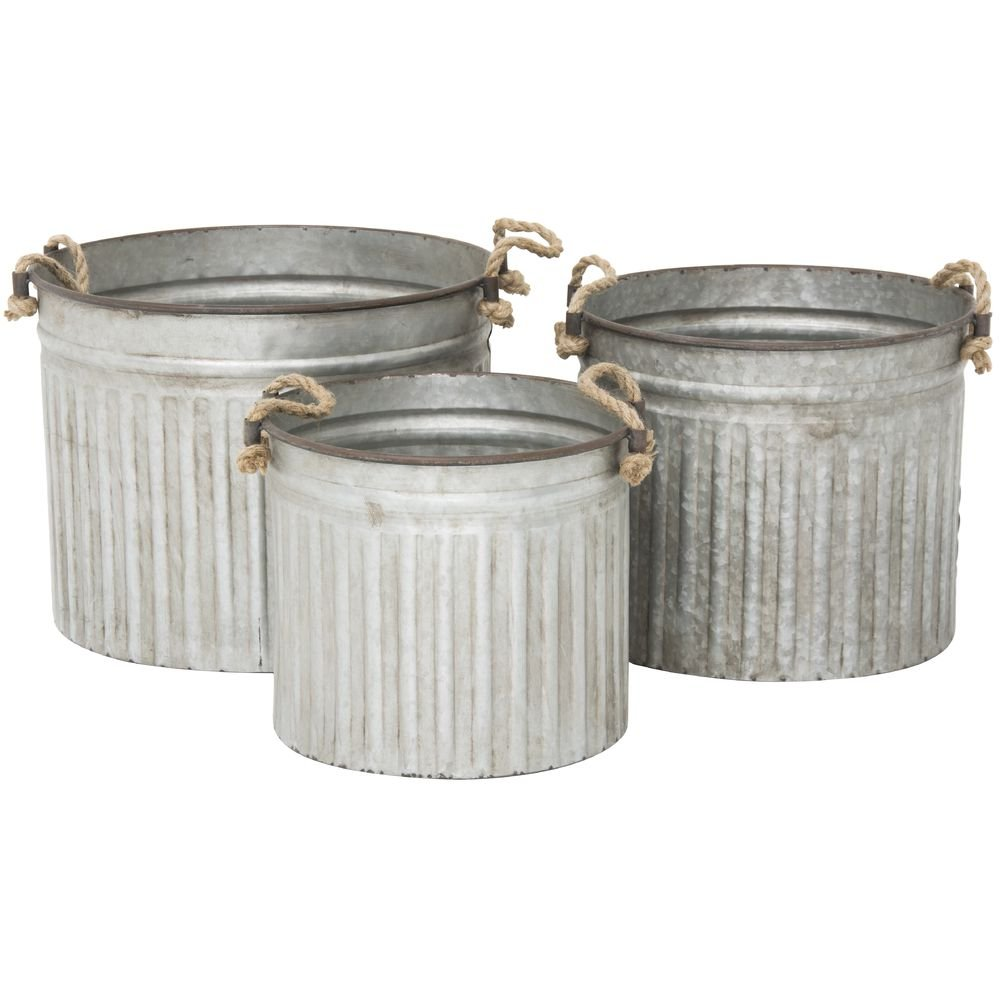 Galvanized Metal Planter Set with Rope Handles