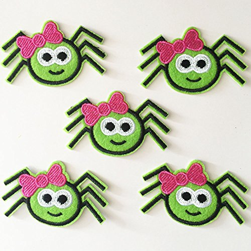 10pcs Halloween Green Spider with bow Iron On Sew On Cloth Embroidered Patches Appliques Machine Embroidery Needlecraft Sewing -