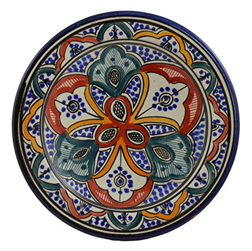 Ceramic Plates Moroccan Handmade Appetizer Tapas Serving Decorative 8 inches Round by Ceramic Plates