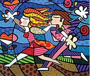 Romer Britto Running Kids Nice Home Decor Abstract painting Wallpaper Custom Poster New Design 50x60cm