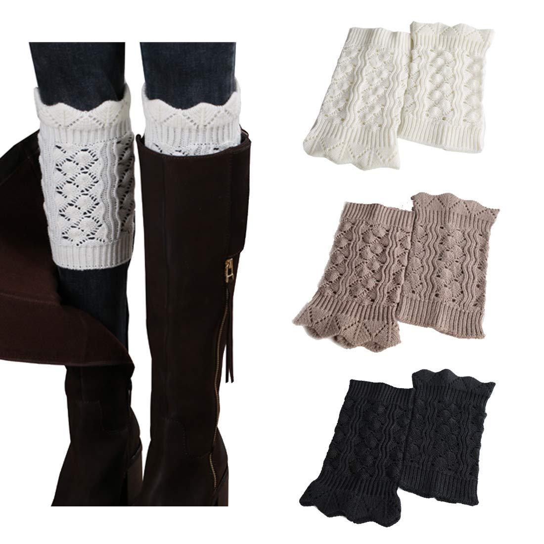 3Pairs Women's Short Leg Warmer Crochet Boot Cover