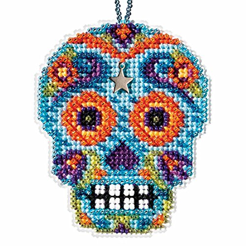 Azul Beaded Cross Stitch Halloween Kit 2016 Mill Hill Calavera Charmed Ornaments MH161625]()