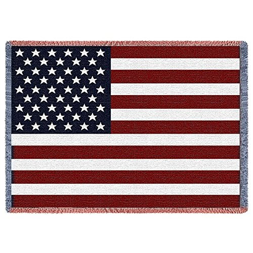 - Pure Country Weavers | American Flag Large Woven Throw Blanket with Fringe USA 70x50 Cotton