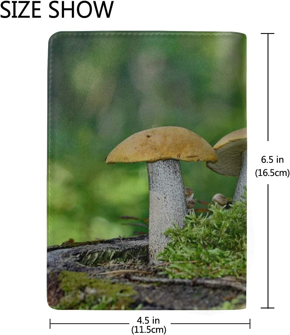 Mushrooms Growing In The Forest Blocking Print Passport Holder Cover Case Travel Luggage Passport Wallet Card Holder Made With Leather For Men Women Kids Family