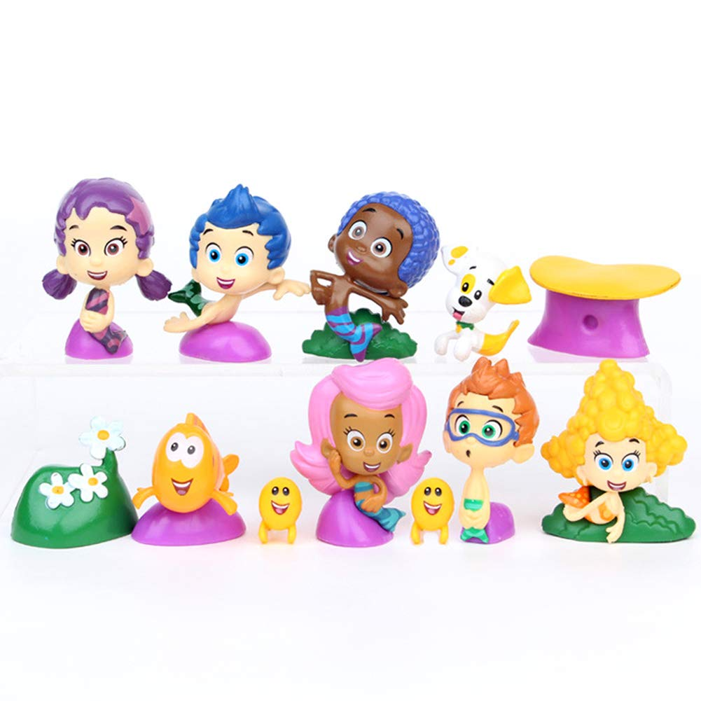 Bubble Guppies Toy Figure 12pcs Cake Toppers Bubble Puppy, Goby, Deema,  Gil, Oona, Underwater Scenery, Baby Guppies Etc