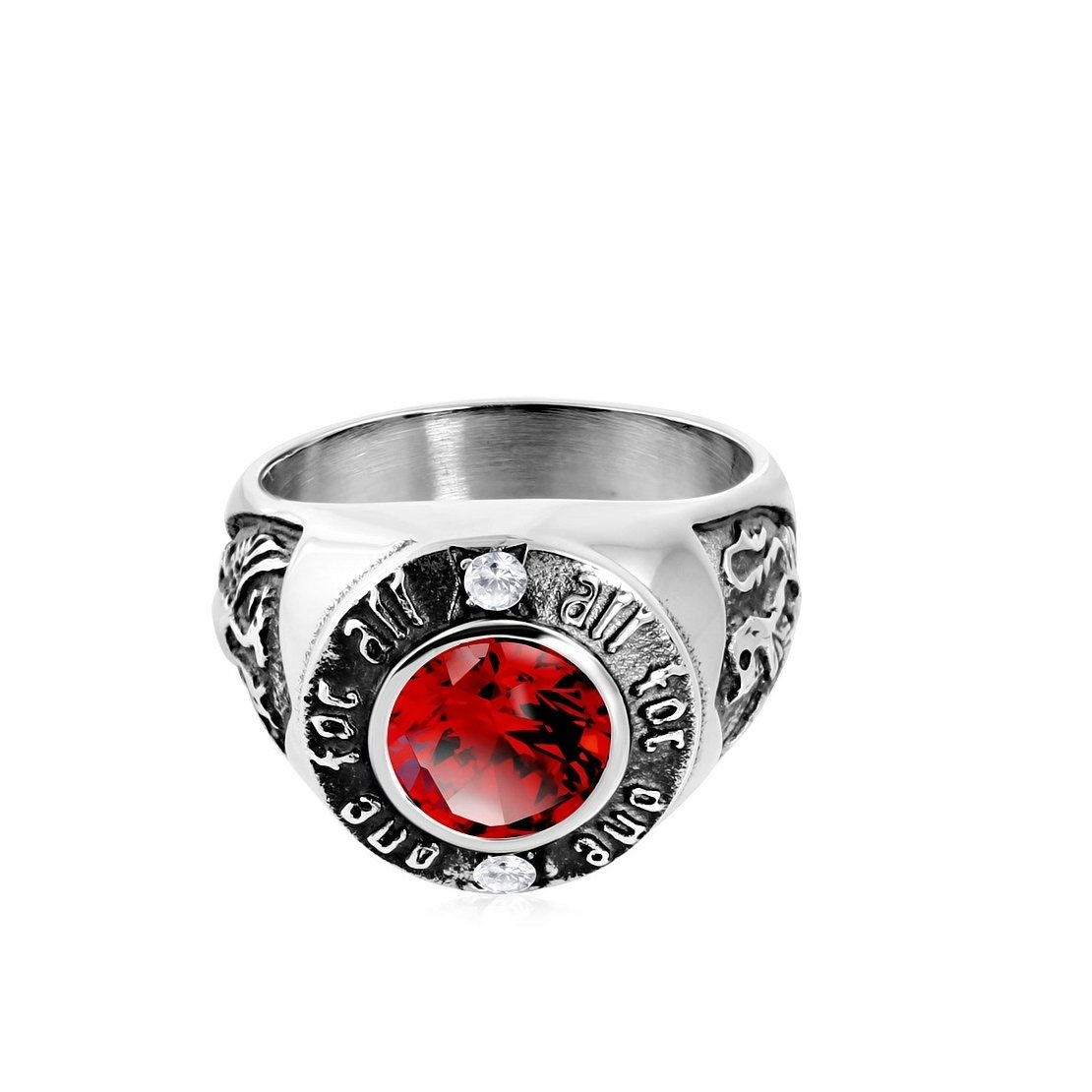 Stainless Steel 2 Color All For One Coat Of Arms Biker Ring with Light Siam Red & Clear CZ
